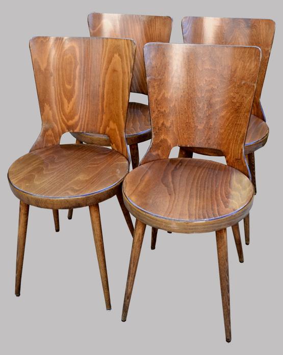 quatre chaises vintage baumann mod le mondor. Black Bedroom Furniture Sets. Home Design Ideas