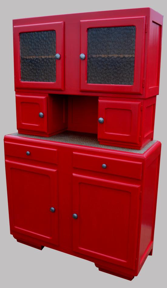 buffet mado meuble de cuisine des ann es 50 peint en rouge. Black Bedroom Furniture Sets. Home Design Ideas
