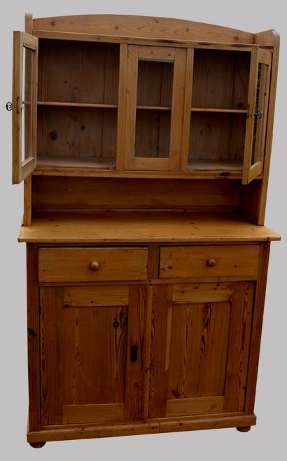 buffet en pin 2 corps partie haute vitr e. Black Bedroom Furniture Sets. Home Design Ideas