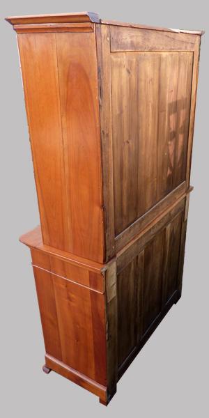 armoire buffet 2 corps en merisier portes vitr es en partie haute. Black Bedroom Furniture Sets. Home Design Ideas
