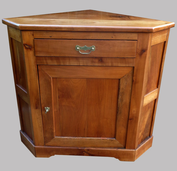 encoignure meuble de coin en merisier bois ancien