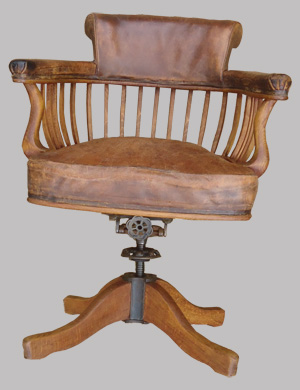 Fauteuil de bureau ancien pivotant bois assise ety dossier for Fauteuil de bureau en bois pivotant
