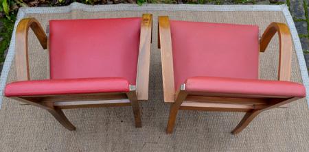 suite de 4 fauteuils bridge des ann es 50 en ska rouge. Black Bedroom Furniture Sets. Home Design Ideas