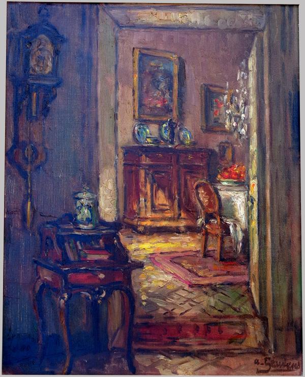 Geudens albert huile sur toile int rieur d 39 une maison for Interieur 19eme siecle