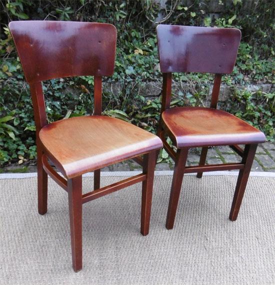 Paire chaises de bistrot anciennes avec large dossier for Chaises bistrot anciennes