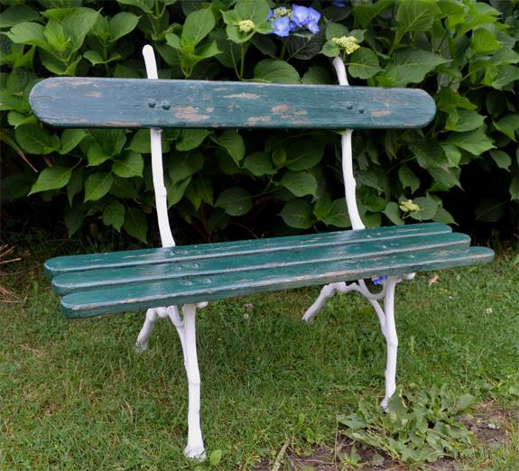 Petit Banc De Jardin Ancien Avec Pieds En Fonte Assise Planches