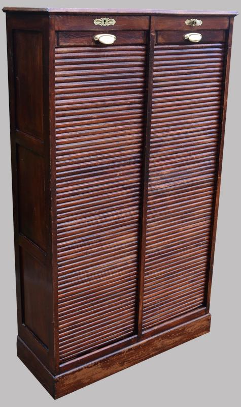 Classeur rideau ancien meuble de rangement 2 colonnes for Meuble classeur rideau