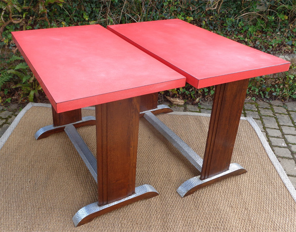 Table de bistrot formica rouge ann es 1950 - Table bistrot rectangulaire aluminium ...