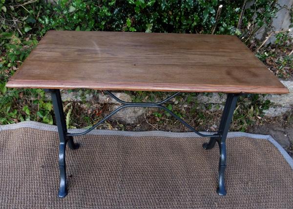 Table de bistrot ancienne rectangulaire avec plateau en chêne