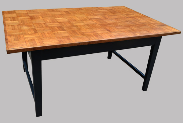 table rectangulaire ancienne plateau parquet. Black Bedroom Furniture Sets. Home Design Ideas
