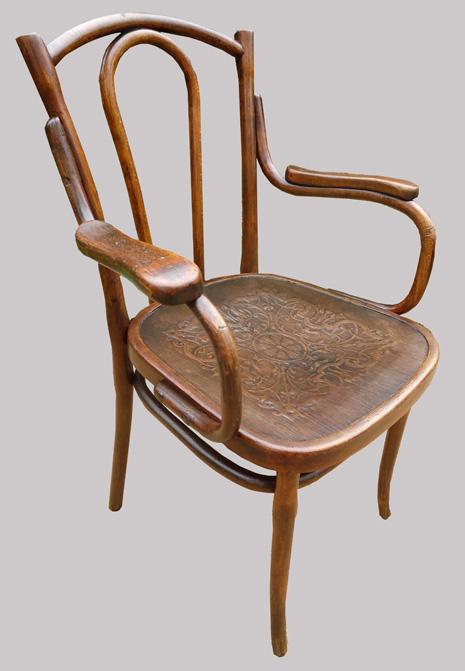 Fauteuil de bureau ancien en bois courbe sans marque sous l 39 assise - Fauteuil ancien en bois ...