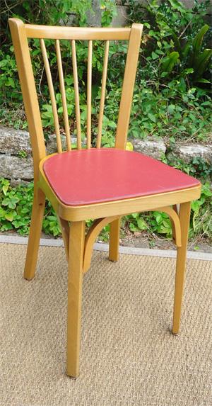 quatre belles chaises baumann vintage galette en ska rouge. Black Bedroom Furniture Sets. Home Design Ideas