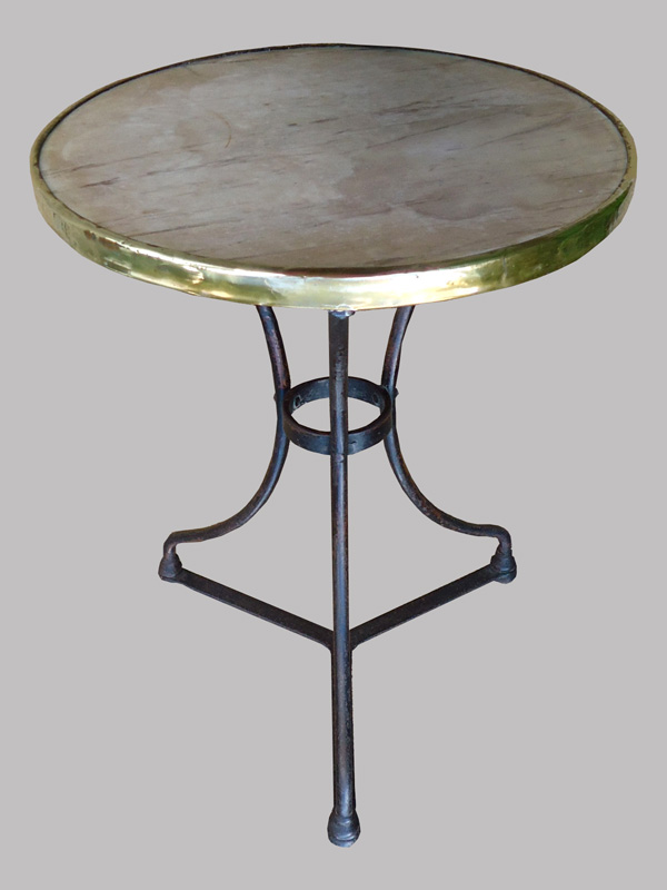 Table de bistrot en fer forg plateau rond en marbre gain for Table de jardin bistrot