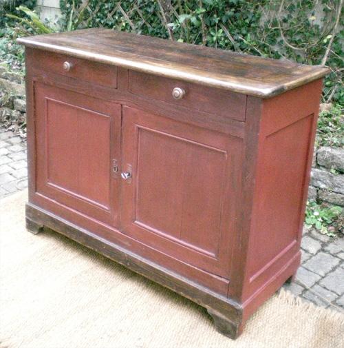 Authentique meuble buffet bas ancien en bois peint - Buffet bas ancien ...