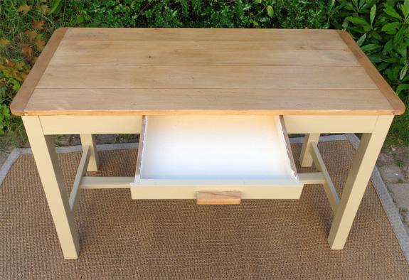 Table bureau rectangulaire avec plateau en bois naturel for Table bois ancienne rectangulaire