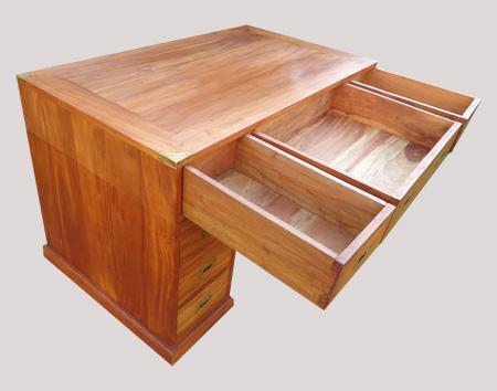 Tr s beau bureau deux colonnes de caissons fonctionnel en margousier - Bureau avec grand tiroir ...