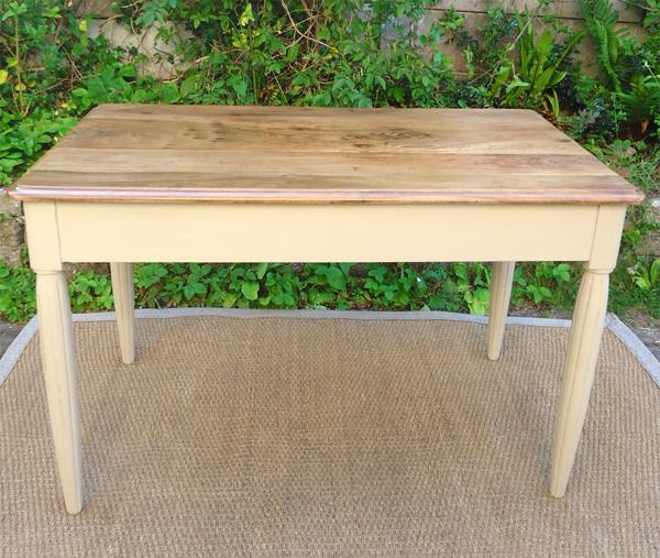 Table bureau ancien en bois peint et plateau en bois naturel - Pied pour bureau plateau ...