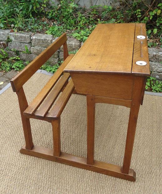 Ancien bureau ecolier bois deux places avec encriers en for Bureau en bois enfant