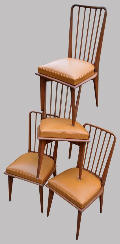 S rie de 4 chaises barreaux ann es 70 for Chaise barreaux
