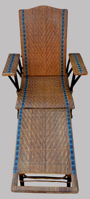 Chaise longue ancienne en rotin avec repose pieds de la maison du rotin nancy - La chaise longue rue princesse ...