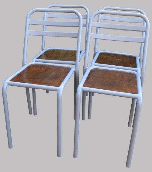 Chaises de bistrot anciennes vintage en m tal peint en gris for Chaises bistrot anciennes