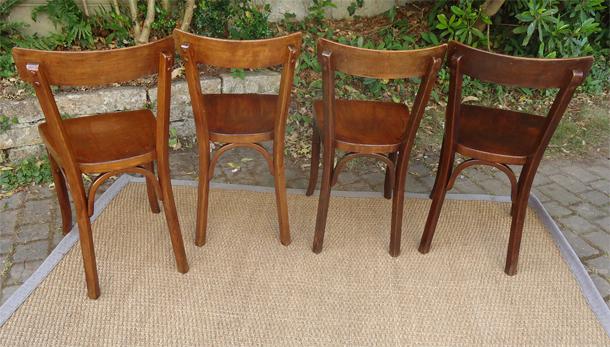 Belle s rie de quatre chaises de style bistrot en hetre - Chaise de cuisine style bistrot ...