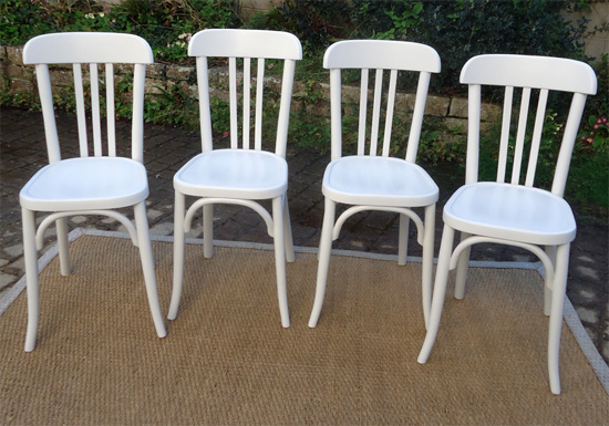 Chaise bistrot bois blanc for Chaise bistrot but