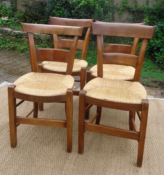Chaises salle manger 4 chaises paill es bois cir - Chaises paillees salle manger ...