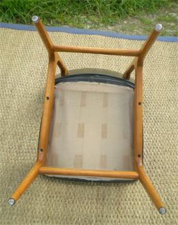 serie de chaises vintage annees 60 en hetre et skai. Black Bedroom Furniture Sets. Home Design Ideas