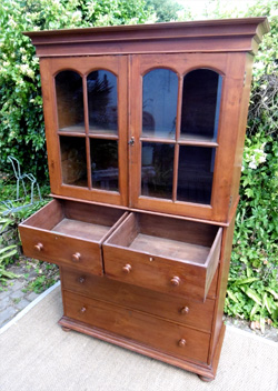 Belle commode biblioth que ancienne en teck avec 2 portes vitr es - Commode bibliotheque meuble ...