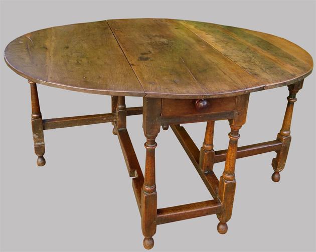 table gateleg ancienne en chene ronde avec 2 volets. Black Bedroom Furniture Sets. Home Design Ideas