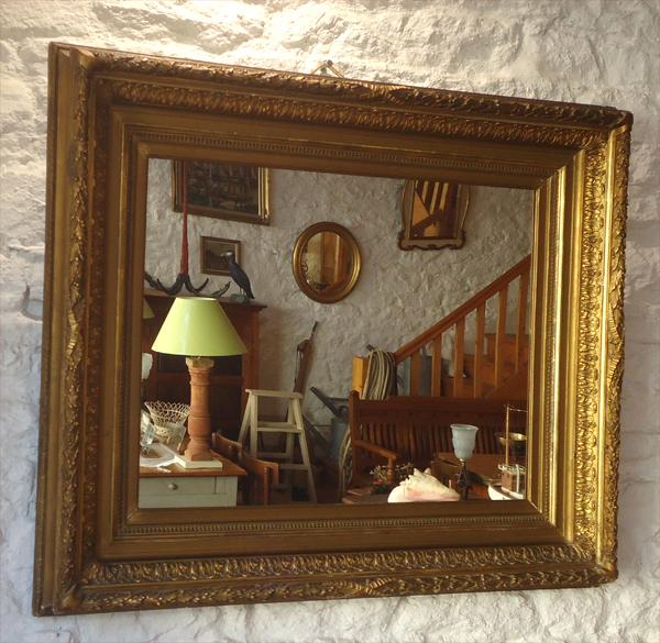 Beau miroir ancien encadrement bois et stuc dor - Encadrement bois pour miroir ...
