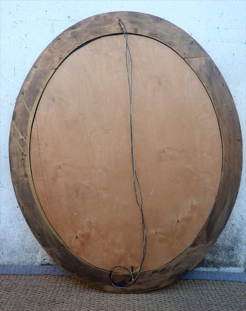 grand miroir ancien de forme ovale cadre dor avec d cor en rang de perles. Black Bedroom Furniture Sets. Home Design Ideas