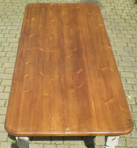 Grande et robuste table ancienne de ferme plateau bois naturel pieds peints for Plateau bois pour table