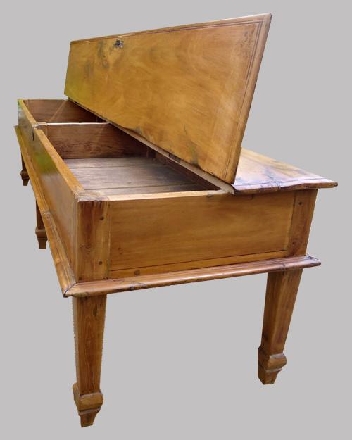 Longue table basse ancienne en teck - Table basse longue ...