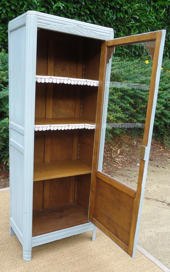 Meuble colonne en bois peint ouvrant 1 porte vitrée # Meuble En Bois Peint