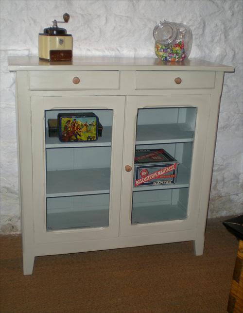 Joli petit meuble ancien en bois peint pour cuisine ou for Meuble bois peint