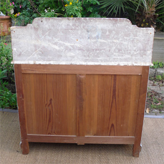 Joli et ancien meuble de toilette avec marbre rouge - Meuble ancien avec marbre ...