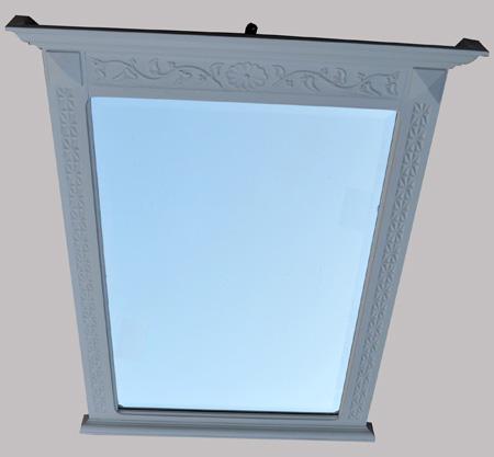 Miroir en bois peint en gris clair for Miroir bois gris