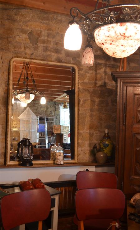 Grand miroir plat ancien avec glace au mercure for Boutique miroir