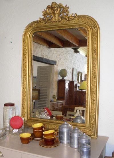 Miroir d 39 appui a encadrement en bois dor decor frise for Boutique miroir