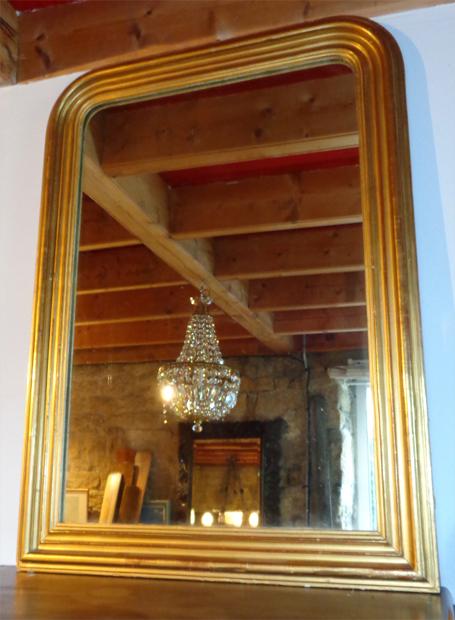Beau miroir d 39 appui ancien en stuc dor de style louis for Miroir louis philippe