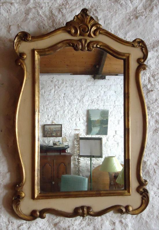 beau miroir ancien en bois et stuc dor de style baroque