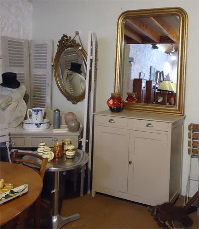 Beau miroir ancien encadrement bois et stuc dor for Boutique miroir