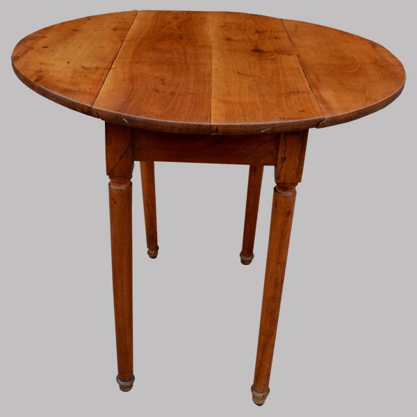 Petite Table Ronde Ancienne 2 Abattants En Merisier
