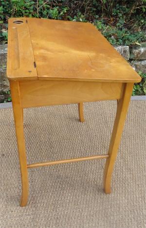 Petit bureau d 39 colier baumann en h tre clair - Bureau d ecolier ancien en bois 1 place ...