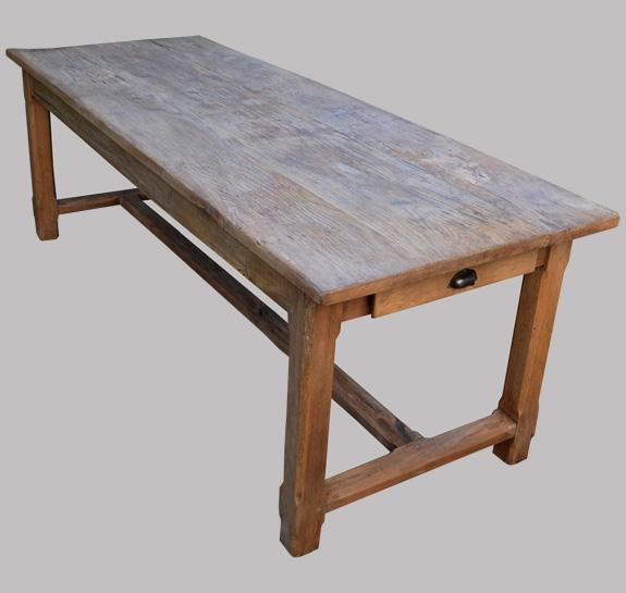 Authentique table de ferme ancienne en bois brut - Plateau bois brut pour table ...