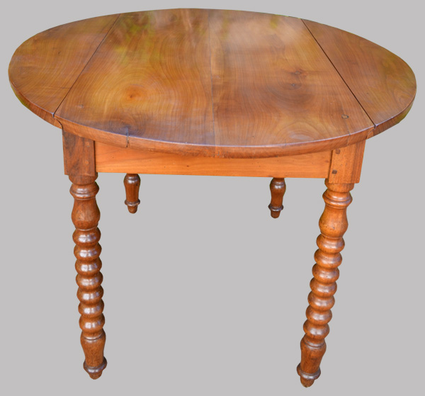 Table ronde ancienne 2 abattants en merisier for Pietement table ronde