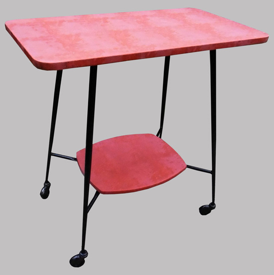 Table de t l vintage 2 plateaux ska rouge for Table de tele