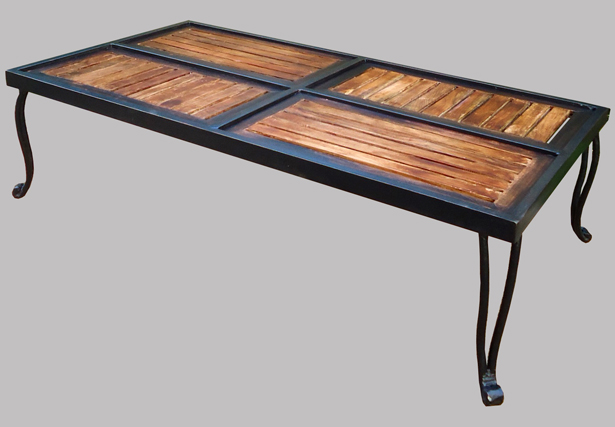 Table basse en bois et fer forg pictures to pin on pinterest for Table ronde bois et fer forge
